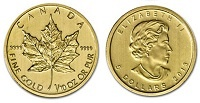 Monedă de aur: Gold Maple Leaf 2013 - 1/10 Oz